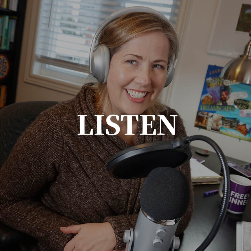 Photo of Laura Tucker making a Free Your Inner Guru Podcast
