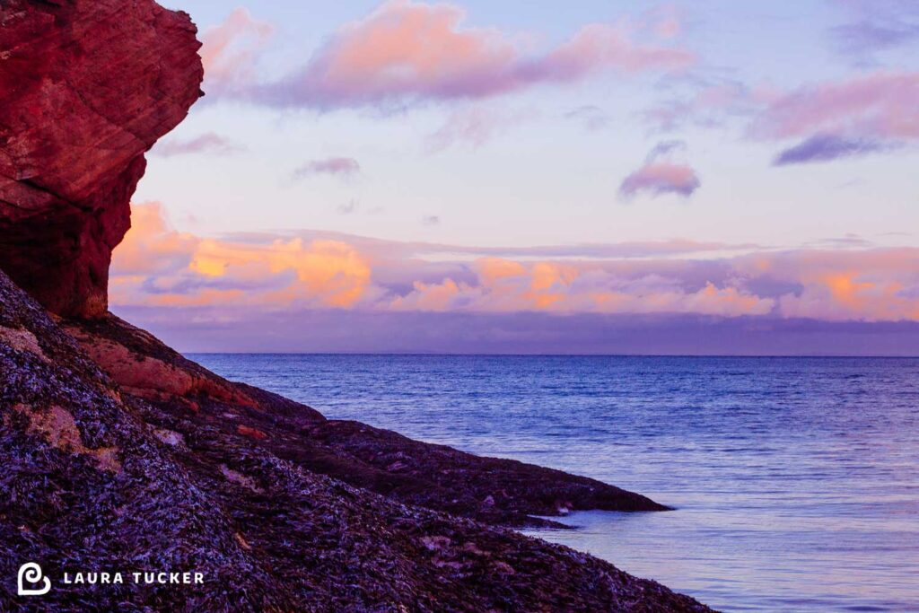 Fine Art Photo of low tide at sunset in hues of pink and blue  at St Martins, New Brunswick