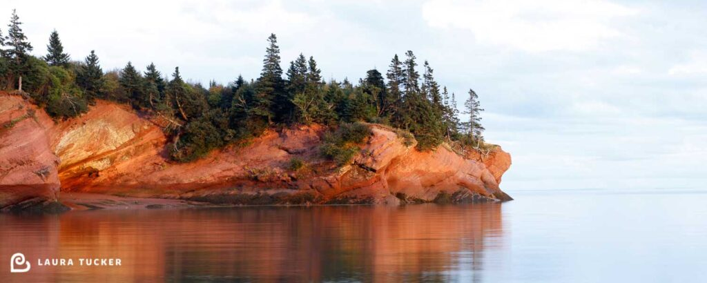 Photo of the cliffs at St Martins, New Brunswick.  Calm water in the foreground, orange rocks reflecting the setting sun, topped by evergreen trees and a light blue cloudy sky.