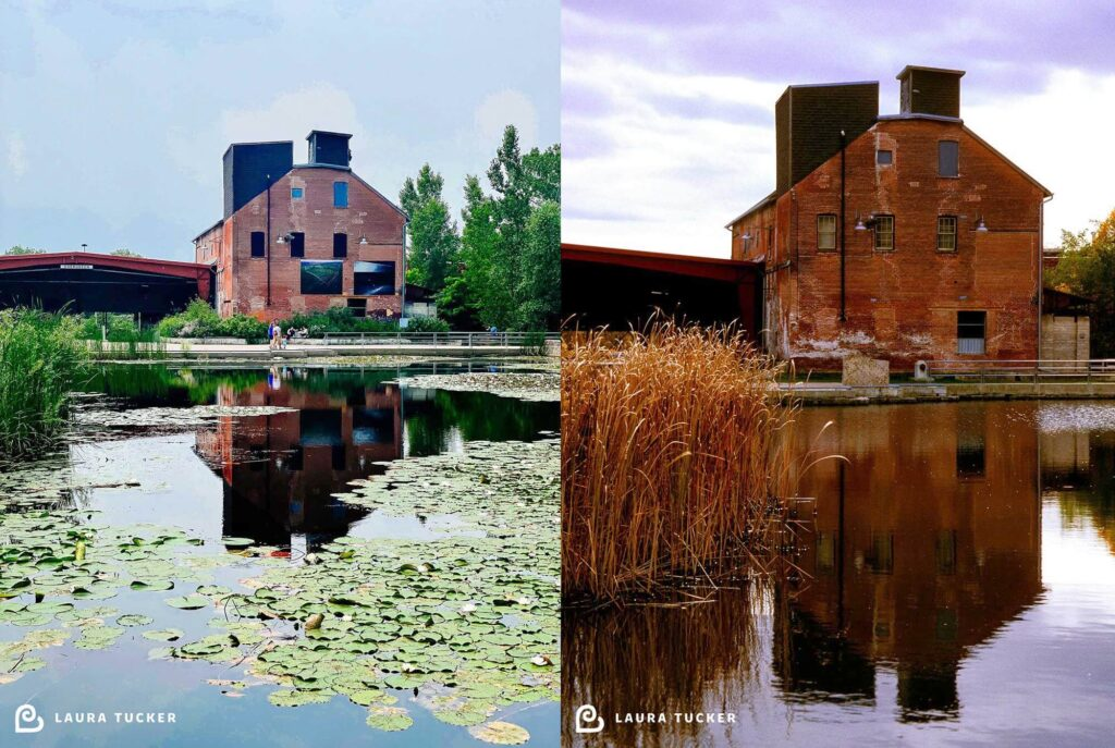 Side by side photos of Evergreen Brick Works in 2021 and 2003